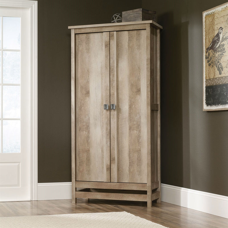 Cottage Style Wardrobe Armoire Storage Cabinet in Light Oak Wood Finish