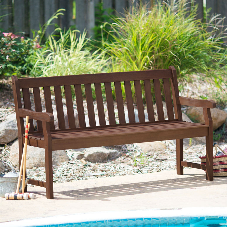 Weather Resistant Outdoor Wood 5-Ft Garden Bench in Dark Brown Finish