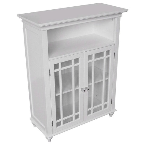 Classic White Wood 2-Door Bathroom Floor Cabinet with Glass Paneled Doors