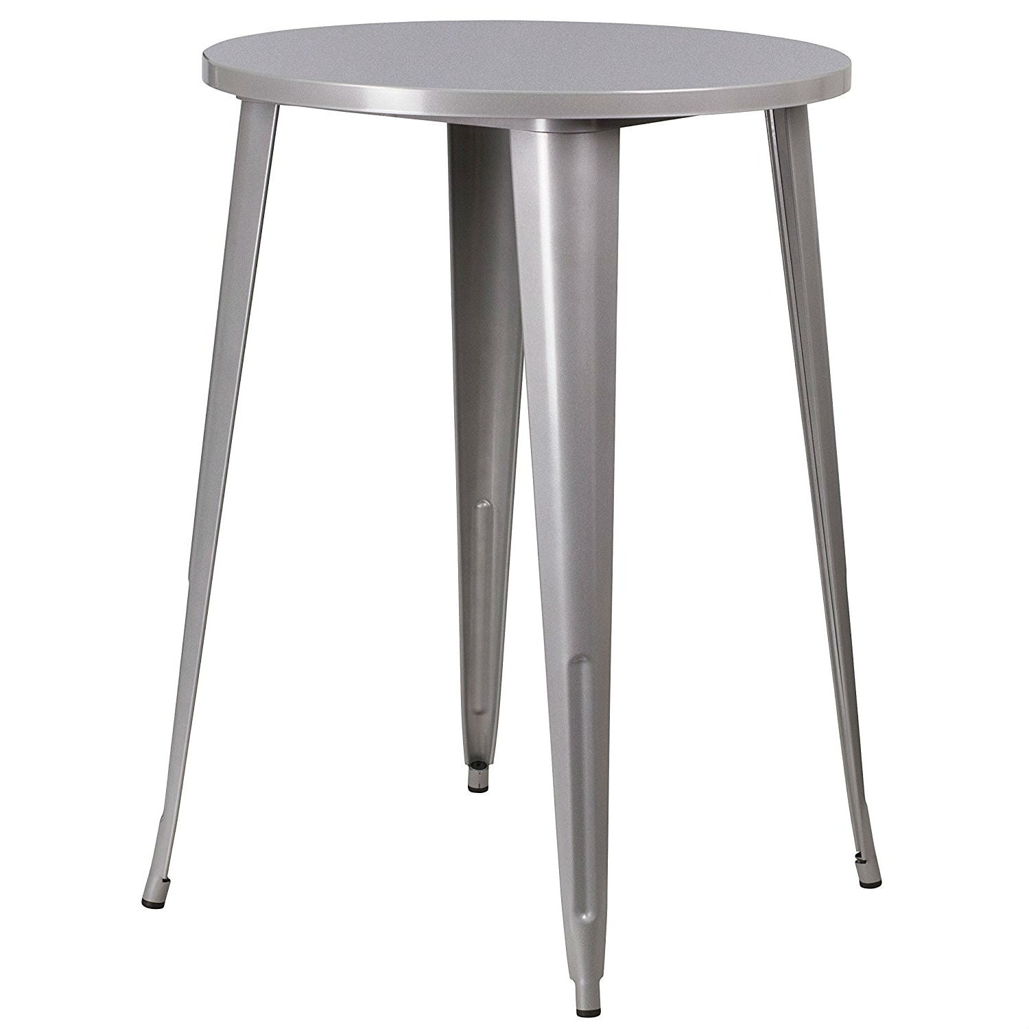Outdoor Inch Round Metal Cafe Bar Patio Table In Silver Anjas - 30 inch round outdoor table
