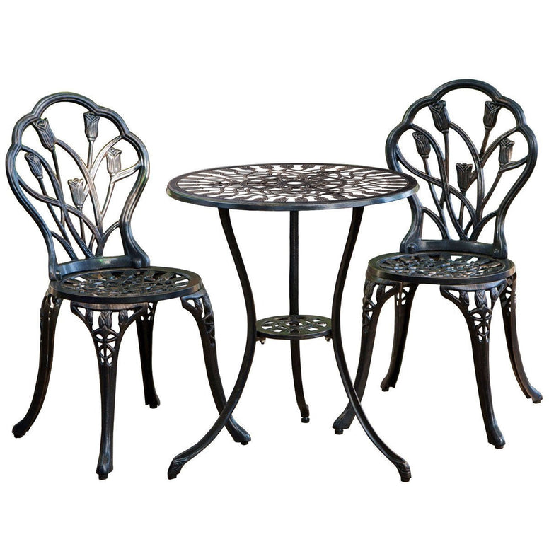 Outdoor 3-Piece Metal Patio Furniture Set in Antique Bronze Finish
