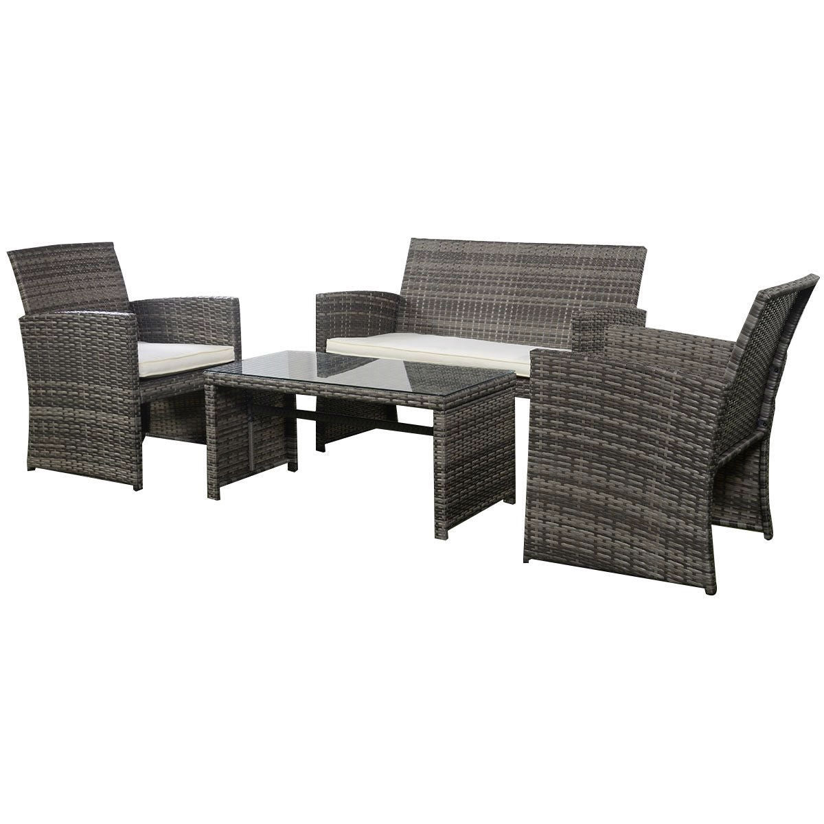 Grey Resin Wicker Rattan 4 Piece Patio Furniture Set With Seat