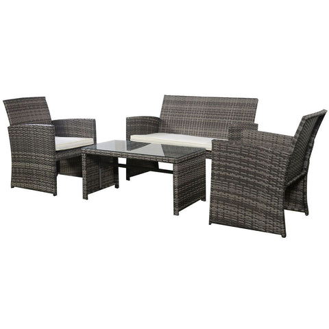 Grey Resin Wicker Rattan 4-Piece Patio Furniture Set with Seat Cushions