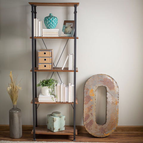 Vintage Industrial 4-Shelf Bookcase