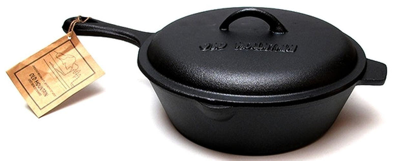 3 Quart Cast Iron Preseasoned Deep Fry Skillet with Lid