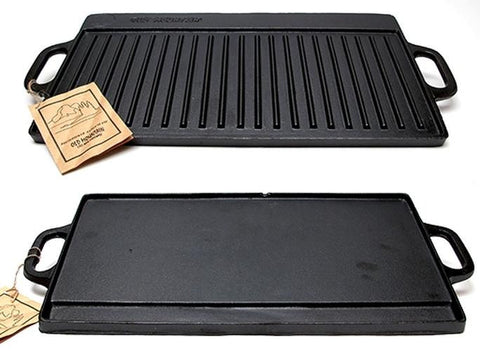 "20"" Cast Iron Two-burner Reversible Grill and Griddle"
