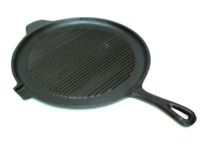 "11"" Cast Iron Round Grill and Griddle Pan"