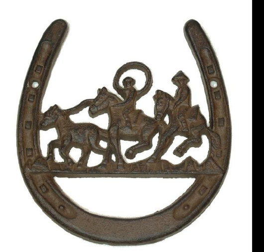 Cast Iron Horse Shoe with Cowboys