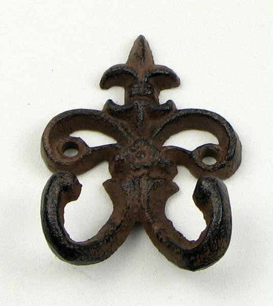 Cast Iron Fleur De Lis Double Wall Hook