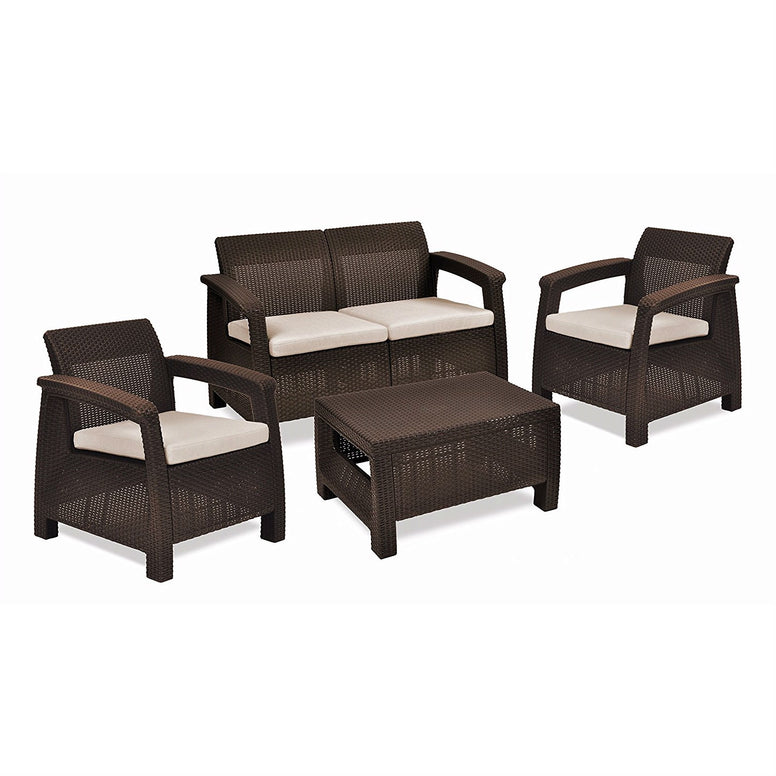 Brown Resin Wicker Patio Furniture Set with Off-White Cushions