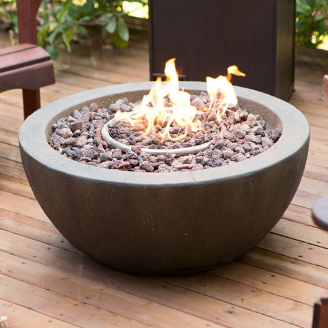 28-inch Round Gray Enviro Stone Natural Gas Fire Pit Bowl