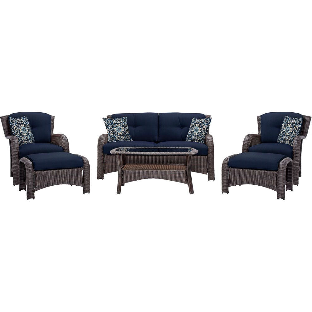 Outdoor 6 Piece Resin Wicker Patio Furniture Lounge Set With Navy Blue Seat Cushions