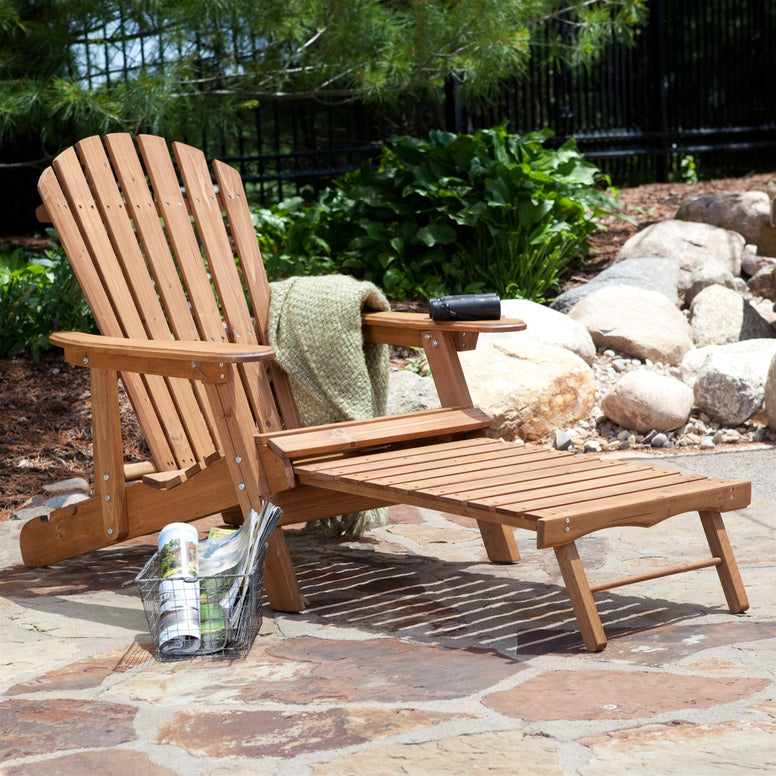 Oversized Classic Adirondack Chair with Pull-Out Ottoman in Natural