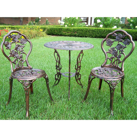 3-Piece Outdoor Bistro Set with Rose Design in Antique Bronze Finish