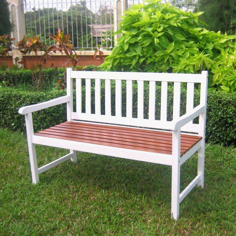 Outdoor Weather Resistant Acacia Wood 4-Ft Patio Garden Bench in White Oak Finish