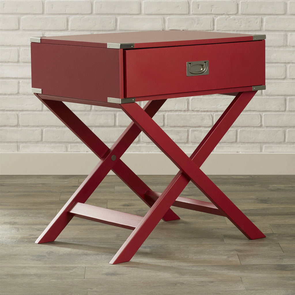 Modern 1 Drawer French Dovetail End Table Nightstand In Red Wood