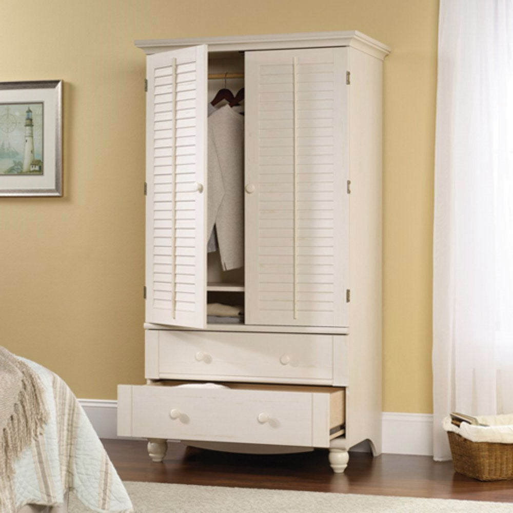 Bedroom Wardrobe Cabinet Storage Armoire with Louver Doors in White & Bedroom Wardrobe Cabinet Storage Armoire with Louver Doors in White ...