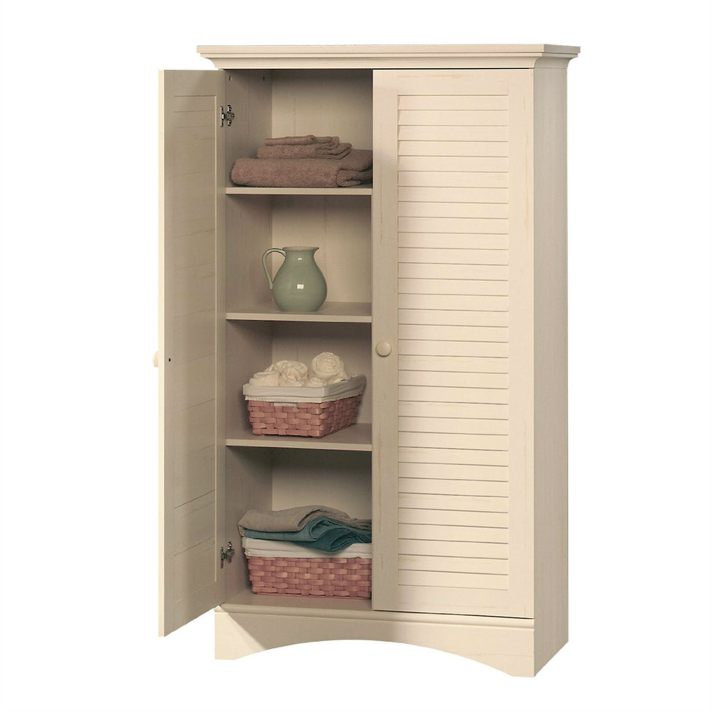 Louver 2-Door Storage Cabinet Bed Bath Armoire Wardrobe in Antique White  sc 1 st  Anjau0027s Attic & Louver 2-Door Storage Cabinet Bed Bath Armoire Wardrobe in Antique ...