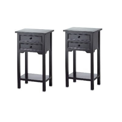 Set of 2 Nightstand Side Tables / End Table in Black Finish Pine ...