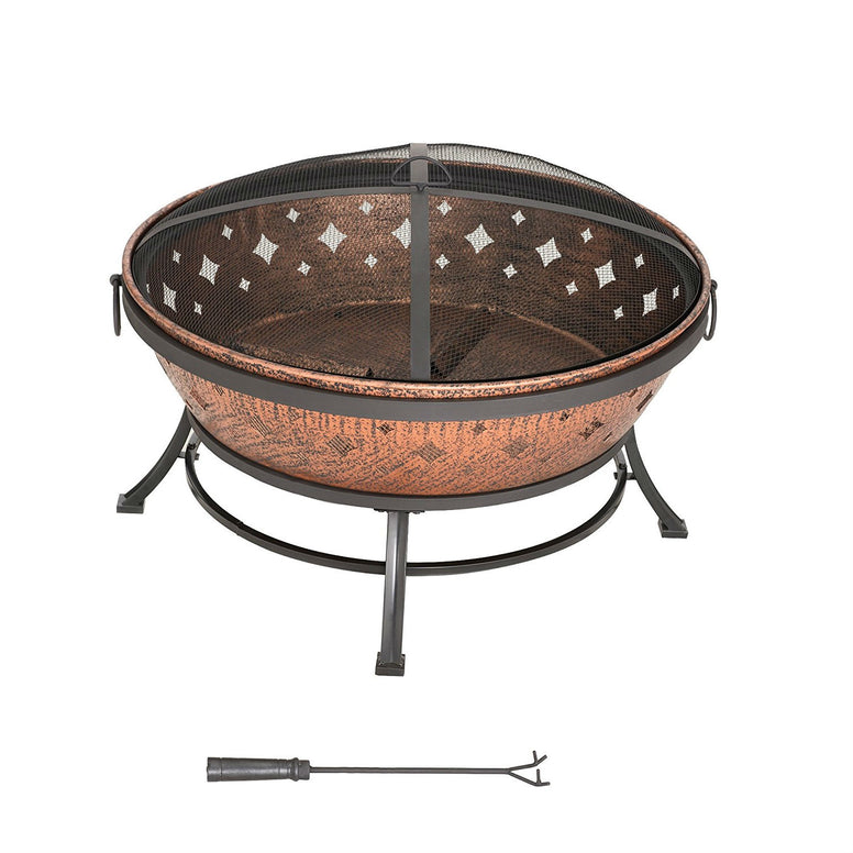 Powder Coated Steel Fire Pit 35-inch with Stand and Screen