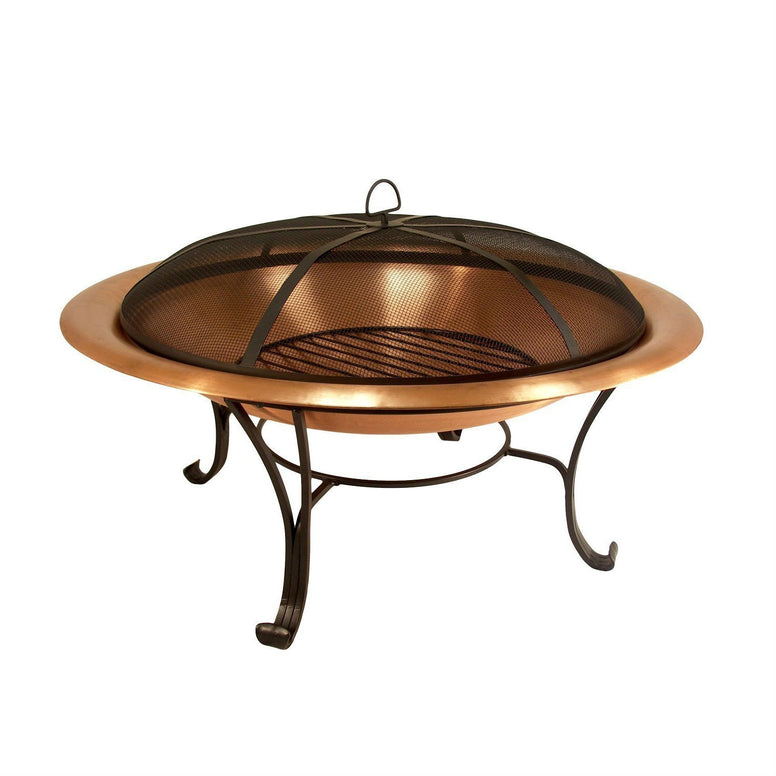 30-inch Copper Fire Pit with Steel Stand and Sprak Screen