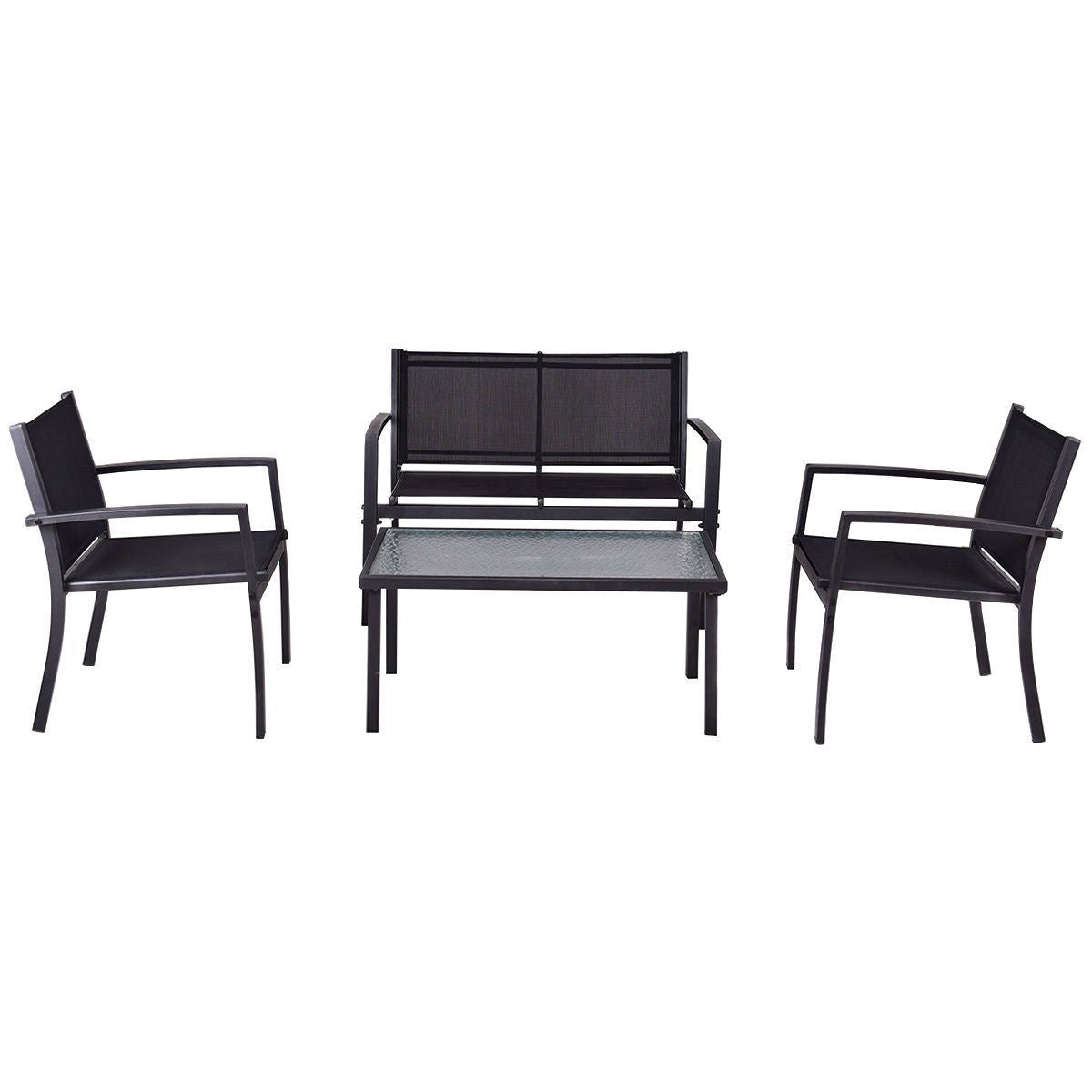 Modern 4 Piece Outdoor Patio Furniture Set With Sling Chairs And Coffee  Table