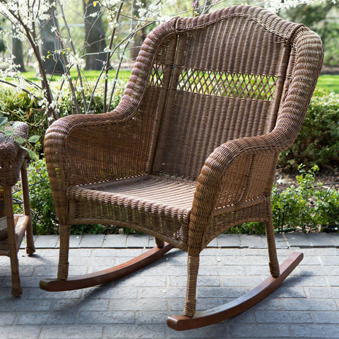 Indoor/Outdoor Patio Porch Walnut Resin Wicker Rocking Chair