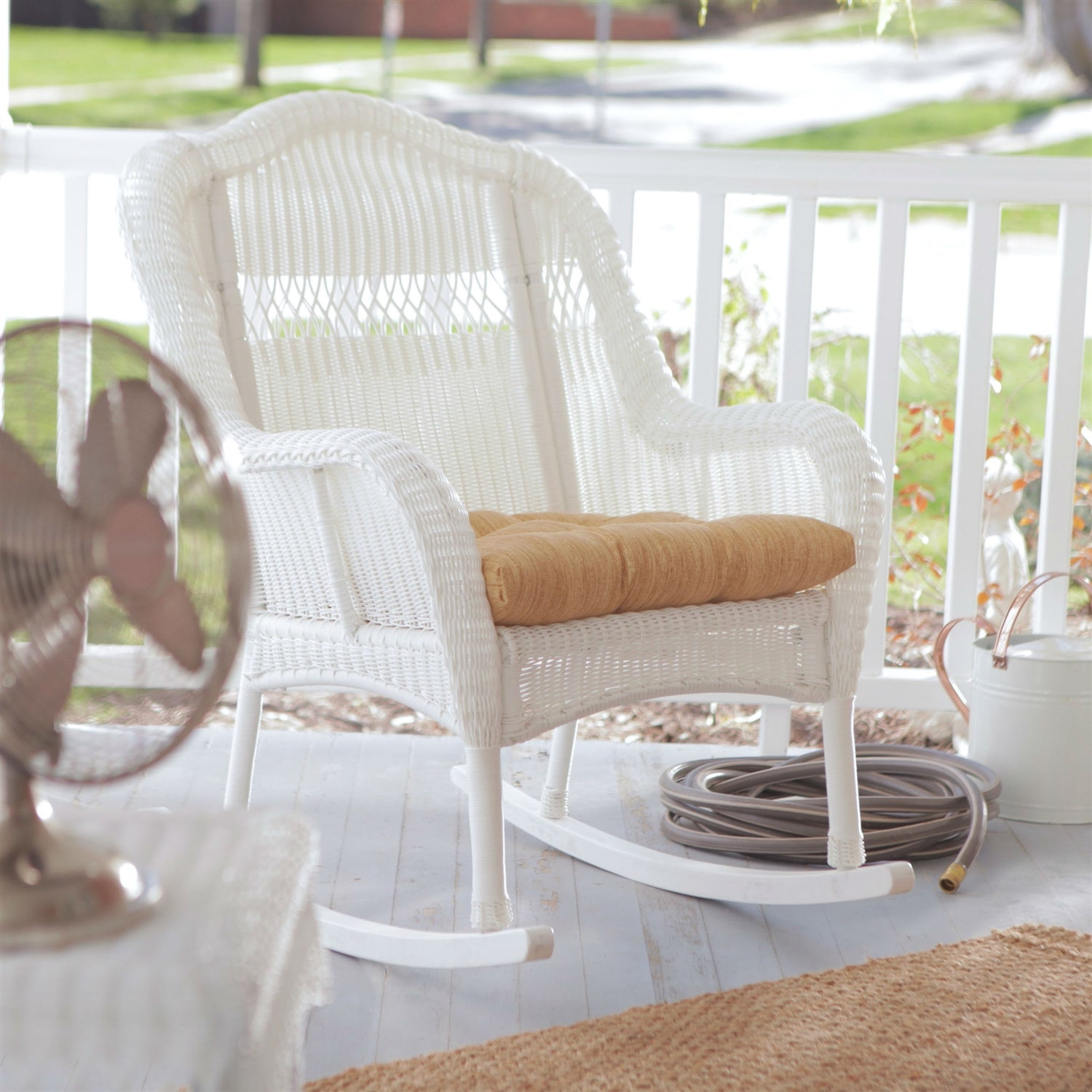 Charmant Indoor/Outdoor Patio Porch White Resin Wicker Rocking Chair