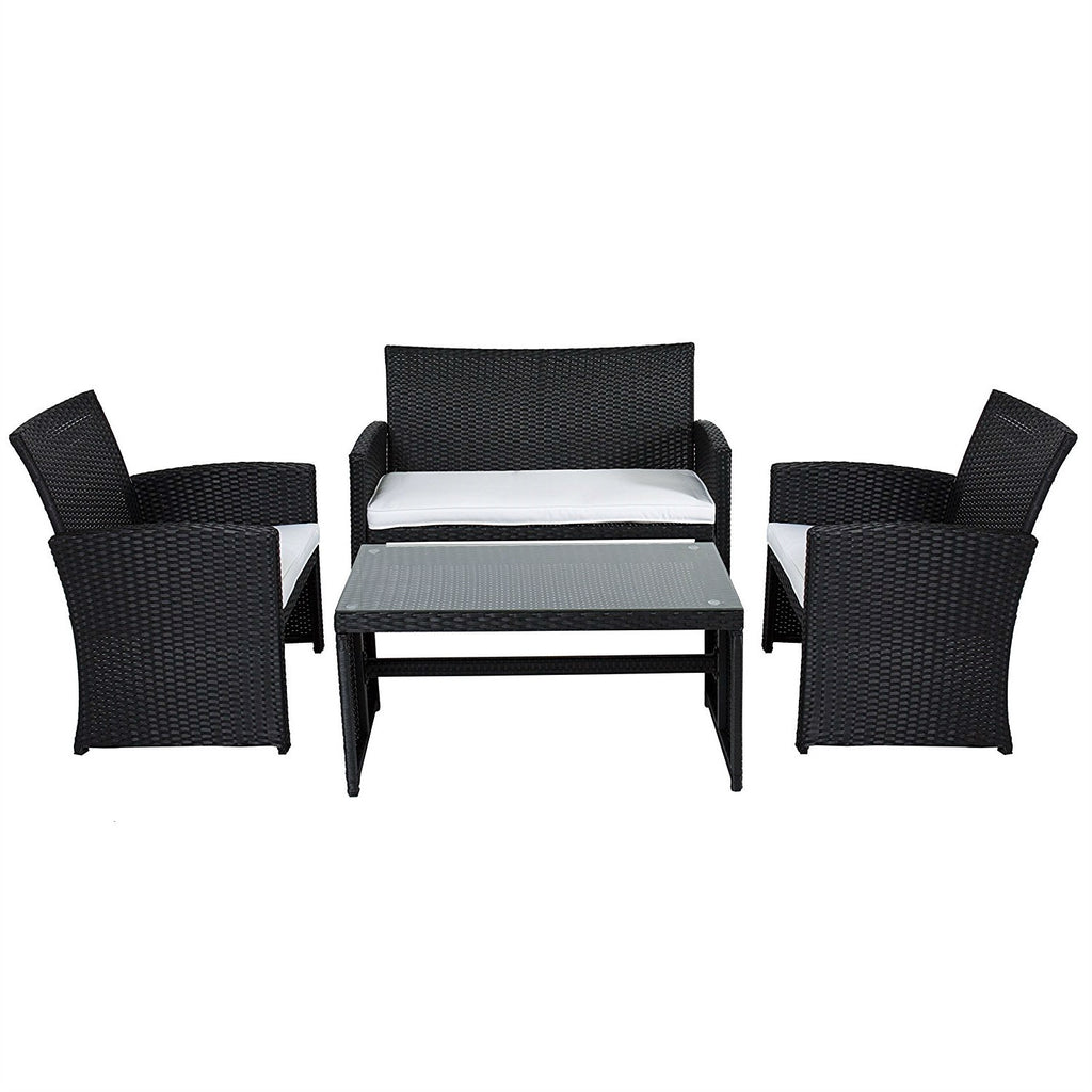 White Outdoor Patio Furniture.Black Resin Wicker 4 Piece Outdoor Patio Furniture Set With White Padded Seat Cushions