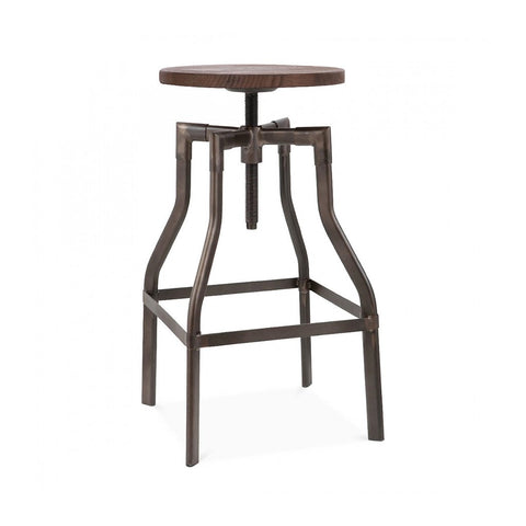 Machinist Rustic Wood Adjustable Barstool 26 - 32 Inch