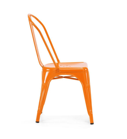 Dreux Glossy Orange Steel Stackable Side Chair (Set of 4)