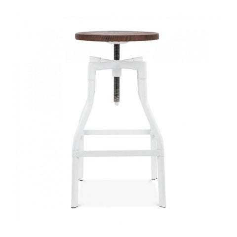 Machinist White Wood Adjustable Barstool 26 - 32 Inch