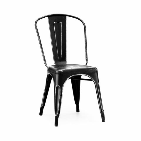 Dreux Vintage Matte Black Silver Stackable Side Chair (Set of 4)