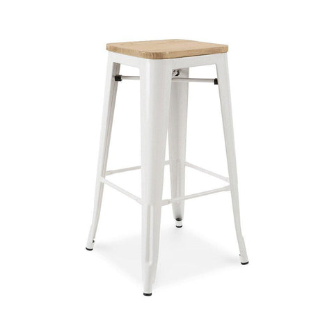 Dreux Glossy White Light Elm Wood Steel Stackable Barstool 30 Inch (Set of 4)
