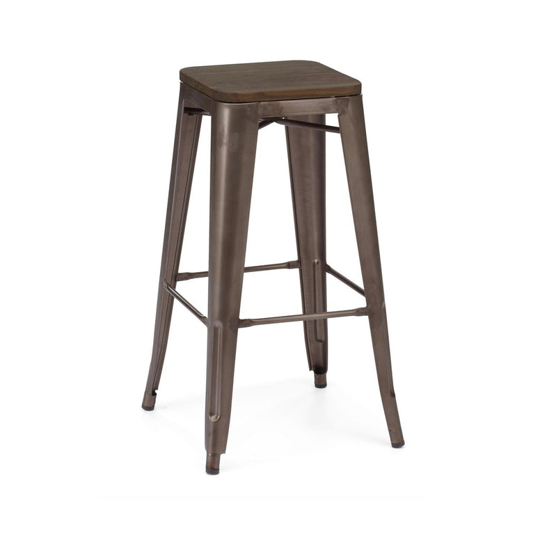 Dreux Rustic Matte Elm Wood Steel Stackable Barstool 30 Inch (Set of 4)