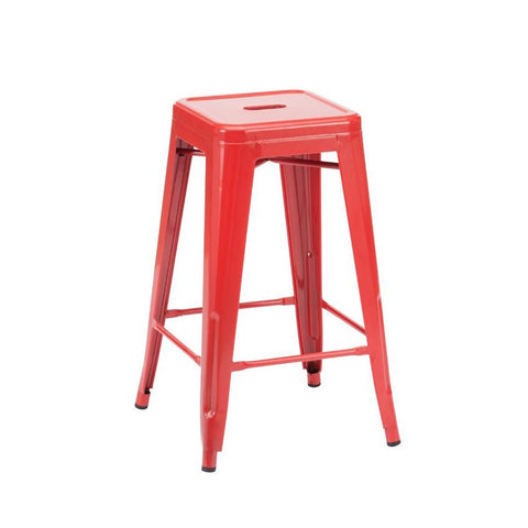 ** NEW ** Dreux Glossy Red Steel Stackable Counter Stool 26 Inch (Set of 4)