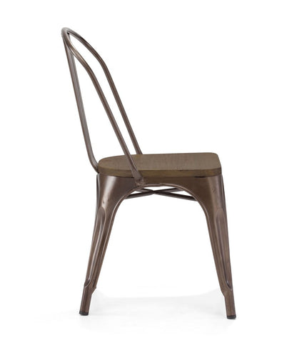 Dreux Rustic Matte Elm Wood Stackable Side Chair (Set of 4)