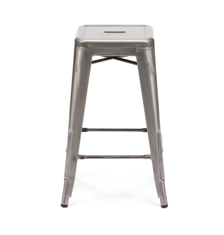 Dreux Gunmetal Steel Stackable Counter Stool 26 Inch (Set of 4)