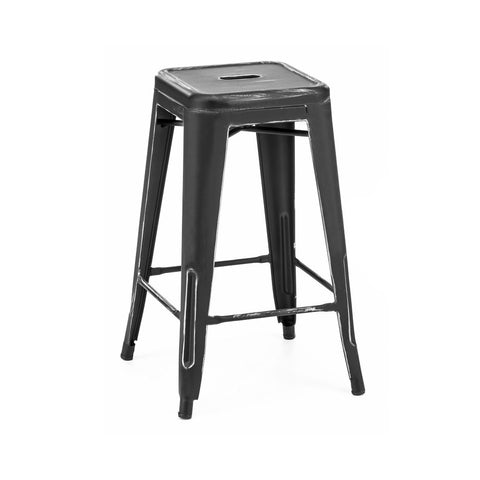 Dreux Vintage Matte Black Silver Stackable Counter Stool 26 Inch (Set of 4)