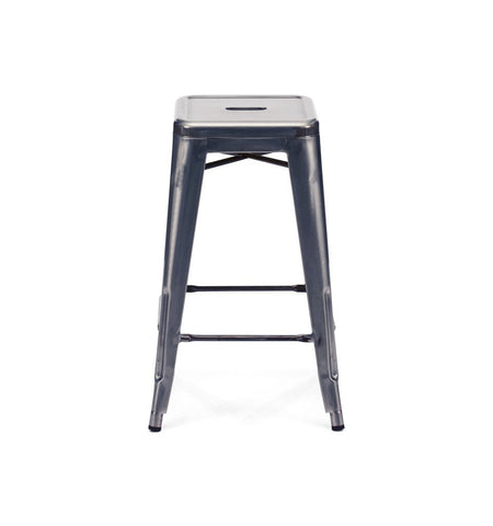 Dreux Dark Gunmetal Steel Stackable Counter Stool 26 Inch (Set of 4)