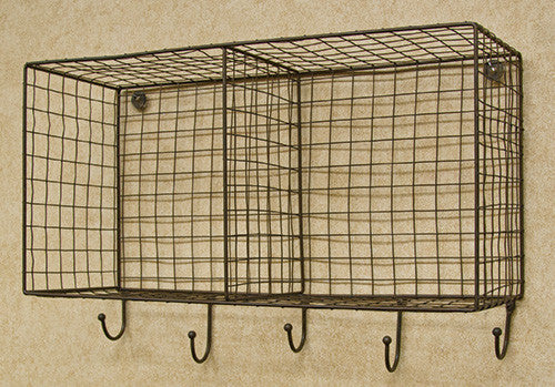 Hanging Wire Storage Basket with Hooks