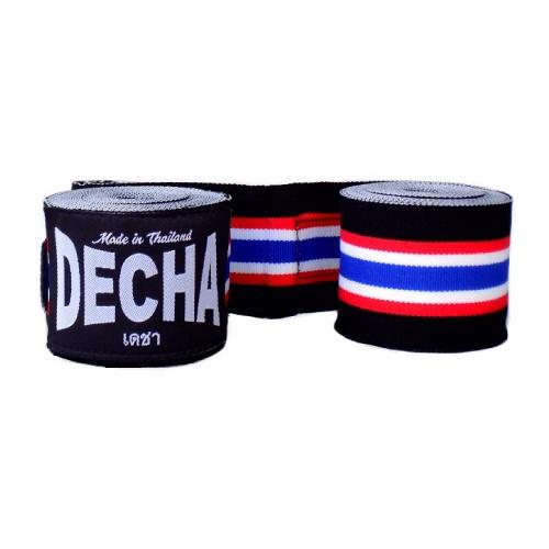 Decha Muay Thai Boxing Handwraps Thai Flag Black