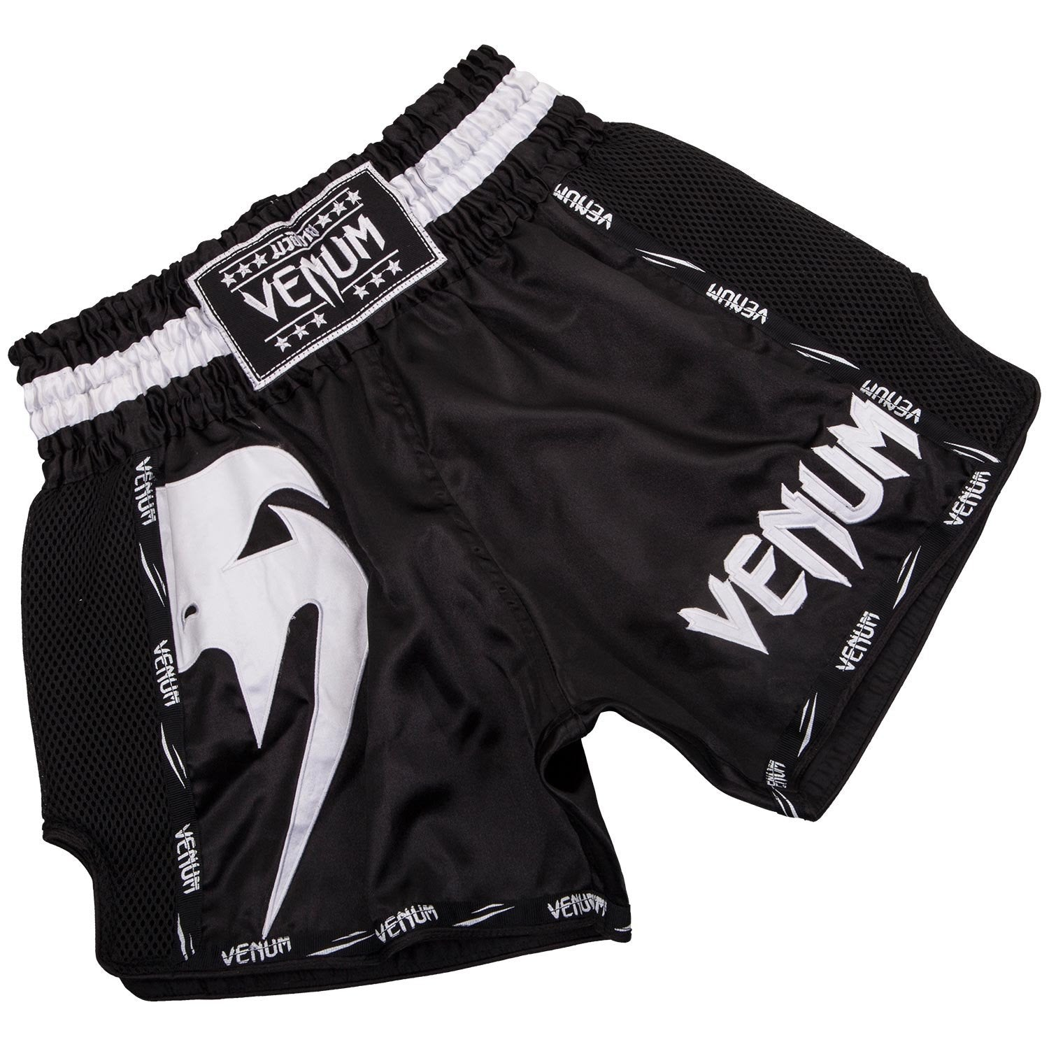 Venum Giant Muay Thai Short Black/White - The Fight Factory