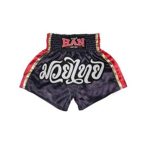 Han Muay Thai boxing shorts Black Red Gold - The Fight Factory