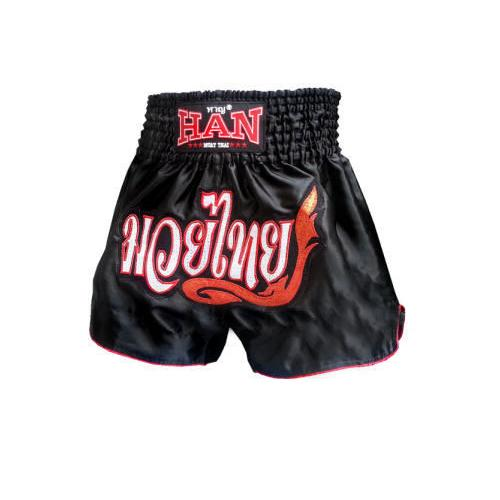 Han Muay Thai shorts - Black Thai Style - The Fight Factory