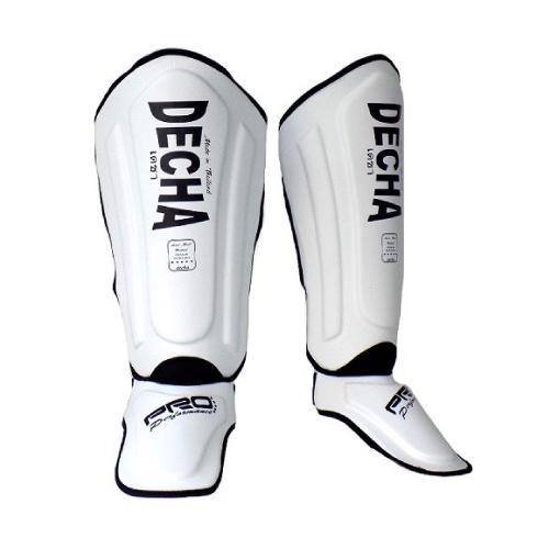 Decha Muay Thai Shin Guards White Black - The Fight Factory