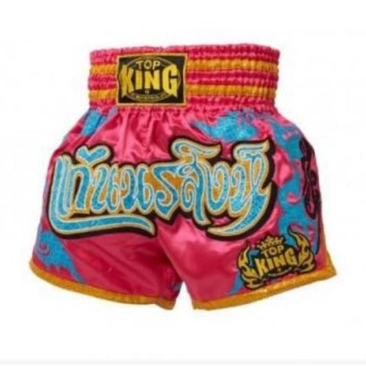 Top King Muay Thai Shorts Pink Light Blue - The Fight Factory