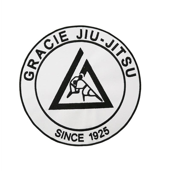 "Gracie Large Embroidered Gi Patch (9x9"") White - The Fight Factory"