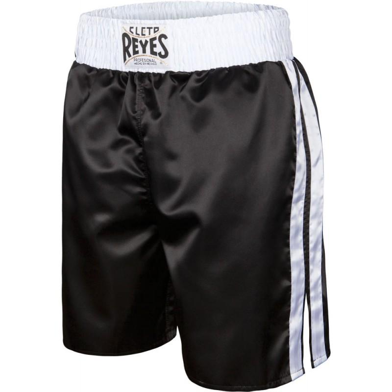 CLETO REYES PRO BOXING SHORTS BLACK WHITE - The Fight Factory
