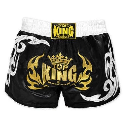 Top King Retro Muay Thai Shorts Black - The Fight Factory